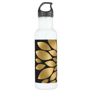Pretty gold faux glitter abstract flower 710 ml water bottle