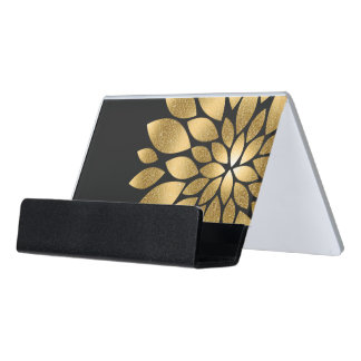 Pretty gold faux glitter abstract flower desk business card holder