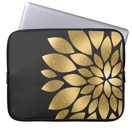 Pretty gold faux glitter abstract flower laptop sleeve