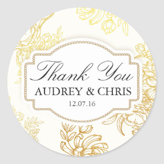 Pretty Gold Flower Frame Thank You Wedding Sticker