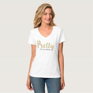 Pretty Gold Glitter and Black V-Neck T-Shirt
