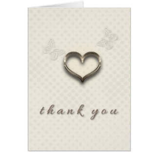 Pretty Gold Heart Butterflies Cream Thank you Card