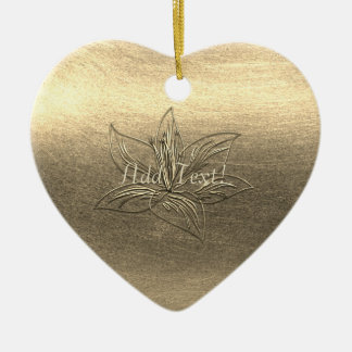 Pretty Gold Lily Flower Floral Add Text Ornament