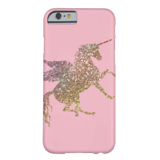 Pretty Gold Pink Glitter Sparkle Flying Unicorn Barely There iPhone 6 Case