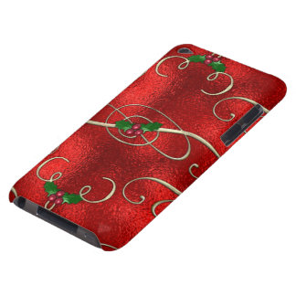 Pretty Gold Swirls With Holly & Berries Barely There iPod Cases