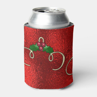 Pretty Gold Swirls With Holly & Berries Can Cooler