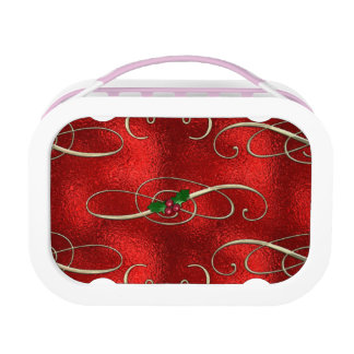 Pretty Gold Swirls With Holly & Berries Lunch Box
