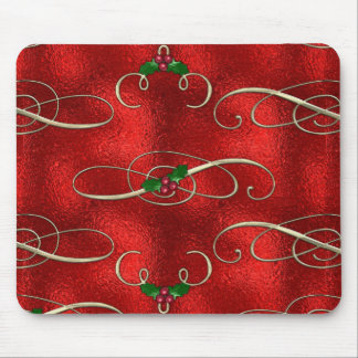 Pretty Gold Swirls With Holly & Berries Mouse Pad