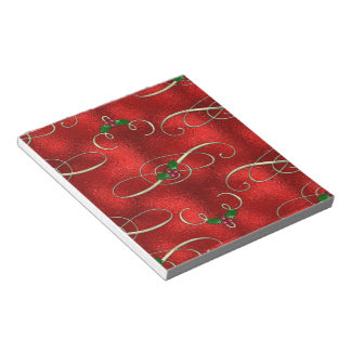 Pretty Gold Swirls With Holly & Berries Notepad