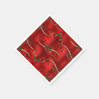 Pretty Gold Swirls With Holly & Berries Paper Napkins