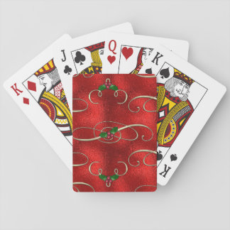 Pretty Gold Swirls With Holly & Berries Playing Cards