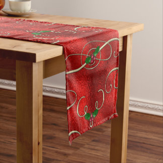 Pretty Gold Swirls With Holly & Berries Short Table Runner