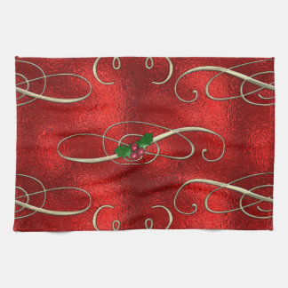 Pretty Gold Swirls With Holly & Berries Tea Towel