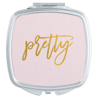 Pretty | Golden Handwritten | Pink Blush Mirror Makeup Mirrors