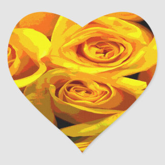 Pretty Golden Yellow Roses Heart Sticker