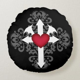Pretty Gothic cross Round Cushion
