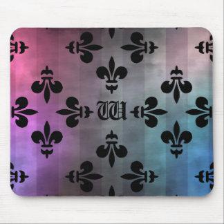 Pretty gothic fleur de lis pattern in cool colors mousepads