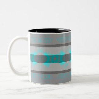 Pretty Gray and Blue Neon Bohemian Tribal Stripes Two-Tone Coffee Mug