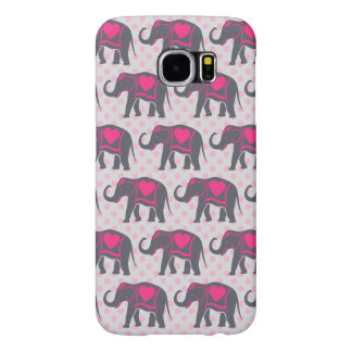 Pretty Gray Hot Pink Elephants on pink polka dots