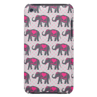 Pretty Gray Hot Pink Elephants on pink polka dots Barely There iPod Covers