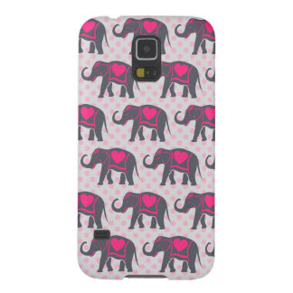 Pretty Gray Hot Pink Elephants on pink polka dots Case For Galaxy S5