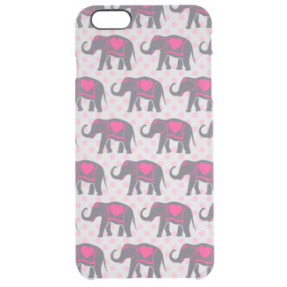 Pretty Gray Hot Pink Elephants on pink polka dots Clear iPhone 6 Plus Case