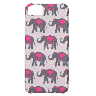 Pretty Gray Hot Pink Elephants on pink polka dots iPhone 5C Case