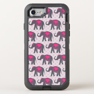 Pretty Gray Hot Pink Elephants on pink polka dots OtterBox Defender iPhone 8/7 Case
