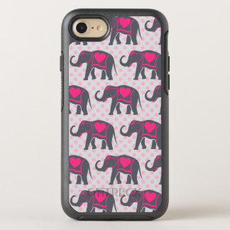 Pretty Gray Hot Pink Elephants on pink polka dots OtterBox Symmetry iPhone 8/7 Case