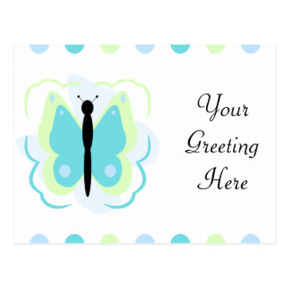 Pretty Green And Cyan Butterfly Postcard