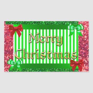 Pretty Green and Red Bows Merry Christmas Sticker
