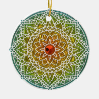Pretty Green and Red Mandala Christmas Ornament