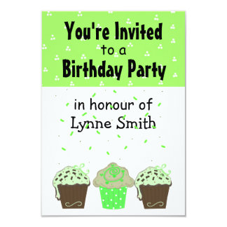 Pretty Green Cupcake Birthday Invitation