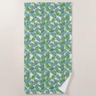 Pretty Green Ferns Textile Beach Towel