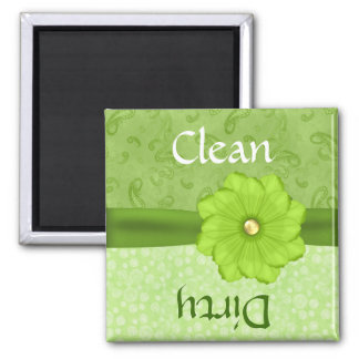 Pretty Green Floral Dishwasher Magnet