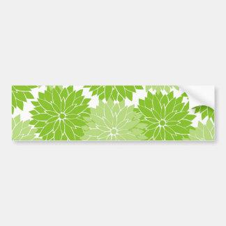 Pretty green Flower Blossoms Floral Pattern Bumper Sticker