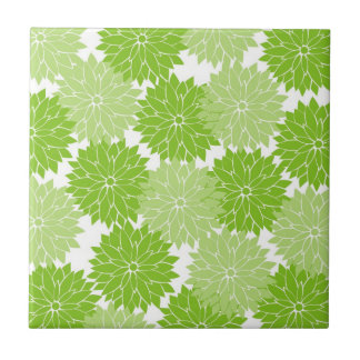 Pretty green Flower Blossoms Floral Pattern Tiles