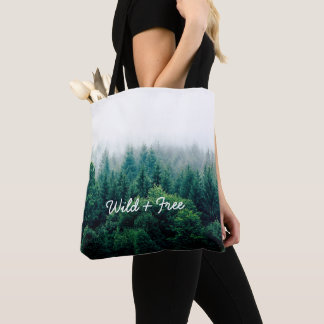 Pretty Green Forest Wild and Free Tote Bag
