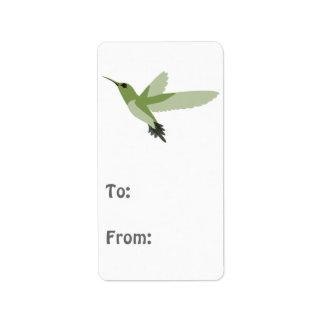 Pretty green hummingbird address label