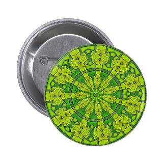 Pretty Green Kaleidoscope Feminine Mandala Flower 6 Cm Round Badge