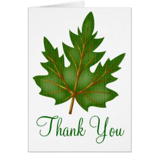 Pretty Green Leaf Thank You Greeting Card Design