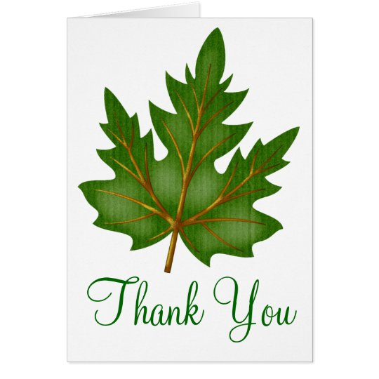 Pretty Green Leaf Thank You Greeting Card Design