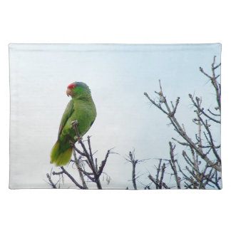 Pretty Green Parrot American MoJo Placemats