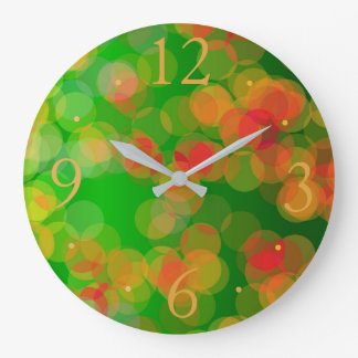 Pretty Green Red Gold Spots> Patterned Clocks