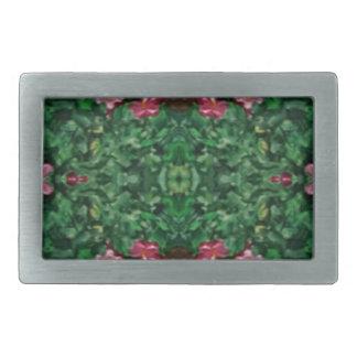 Pretty Green Rose Artistic Pattern Rectangular Belt Buckle