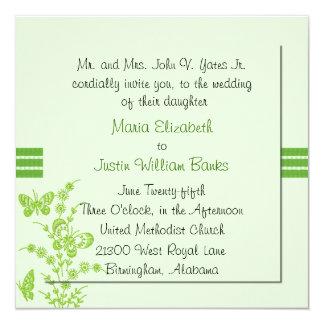 """Pretty Green Square Wedding Invitation 5.25"""" Square Invitation Card"""