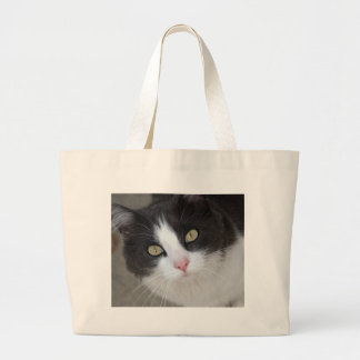 Pretty grey and white cat large tote bag