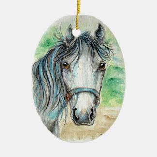 Pretty Grey Horse Ornament