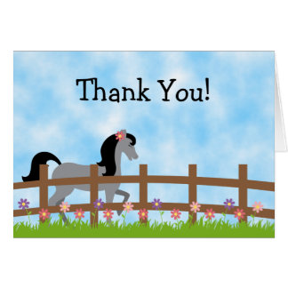Pretty Grey Horse with Cute Flowers Thank You Card