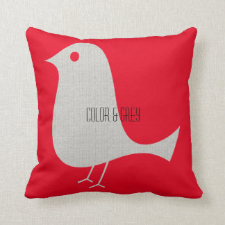 Pretty Grey Textured Bird Throw Pillow